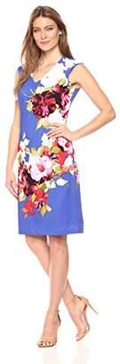 Donna Ricco Women's V Neck Floral Printed Extended Shoulder SLV