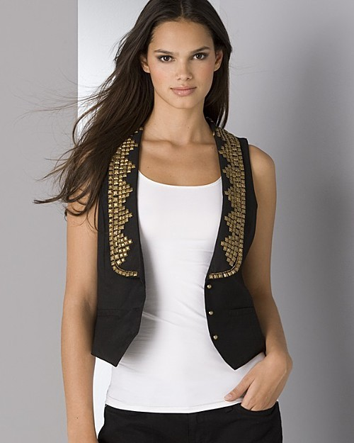Aqua Black Studded Vest