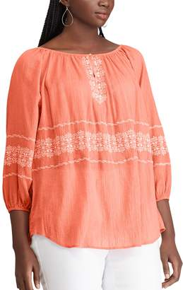 Chaps Plus Size Embroidered Off-The-Shoulder Top
