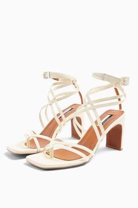 Topshop RAJA Leather Strap Mid Sandals