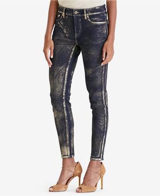 Lauren Ralph Lauren Metallic Skinny Jeans $135 thestylecure.com