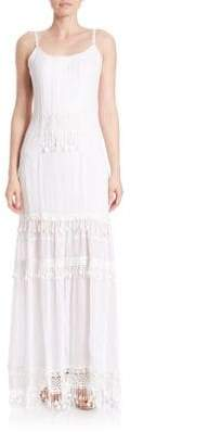 Elie Tahari Kaegan Crochet-Trim Silk Maxi Dress