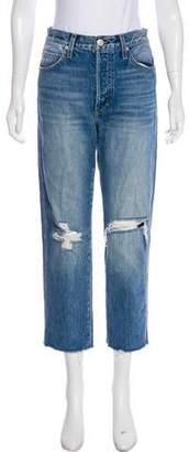 Amo Distressed Straight-Leg Jeans