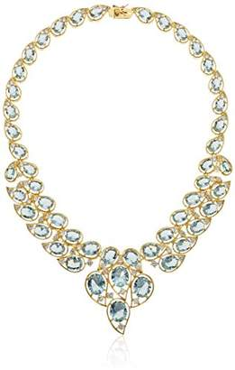 18k Yellow Gold and Fine Silver Plated Bronze Sky Crystal and Cubic Zirconia Collar Necklace