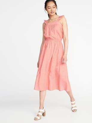 Old Navy Waist-Defined Ruffle-Trim Midi Dress for Women