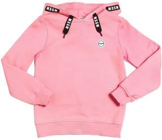 MSGM Logo Drawstring Hooded Cotton Sweatshirt