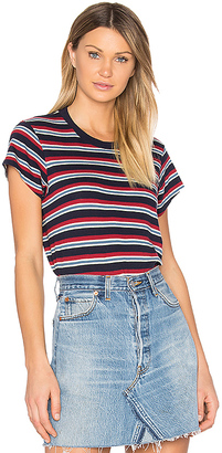RE/DONE Boxy Striped Tee in Red $85 thestylecure.com