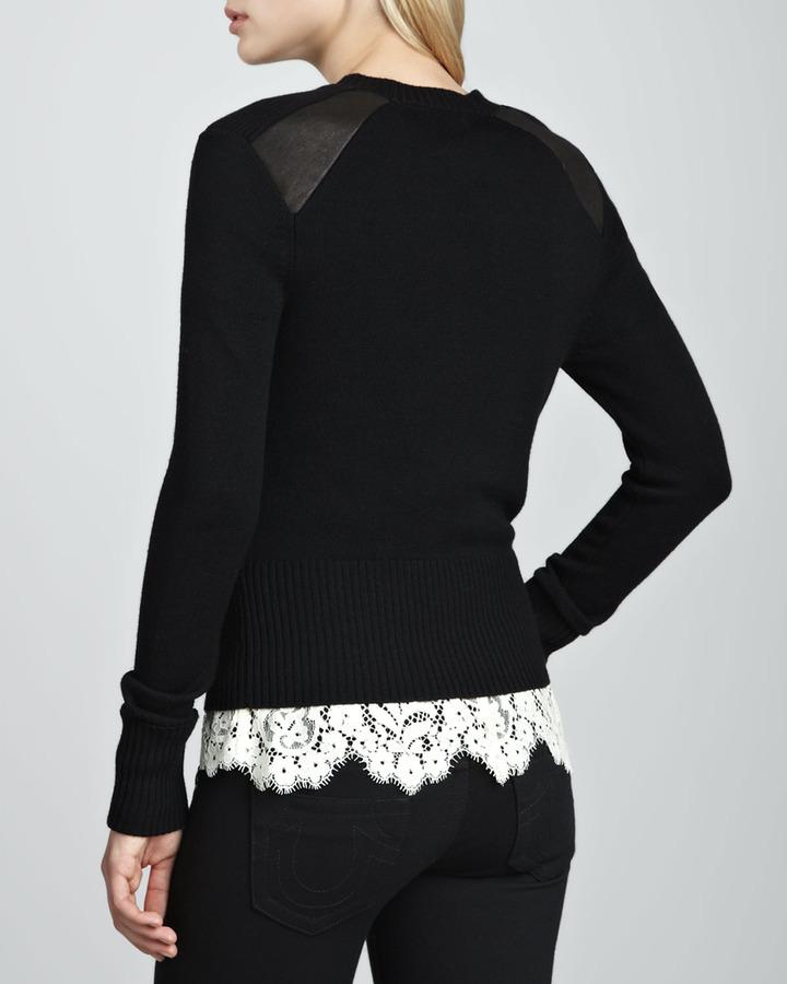 Nanette Lepore Leather-Panel Knit Cardigan