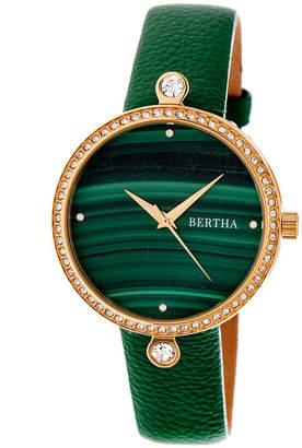 BERTHA Bertha Frances Womens Green Strap Watch-Bthbr6403