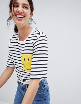 Lee Smile Collab Stripe T Shirt with Pocket
