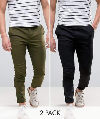 Asos DESIGN 2 Pack Skinny Chinos In Black & Khaki SAVE