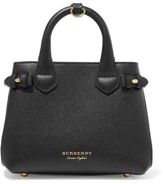ce861e828a01 Burberry Textured-leather And Checked Canvas Tote - Black