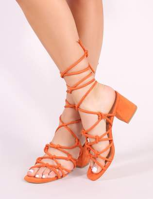 75409862082a Public Desire Freya Knotted Strappy Block Heeled Sandals Faux Suede