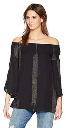 Halston Women's Off Shoulder Flowy Sleeve Printed Top