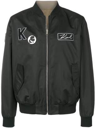 Karl Lagerfeld Paris logo patches bomber jacket