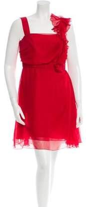 Valentino Pleat-Paneled Silk Dress