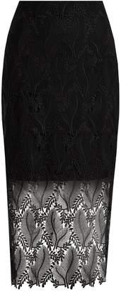 Diane von Furstenberg Leaf and floral macramé-lace pencil skirt