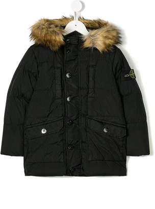 Stone Island Junior fur-trimmed hood coat