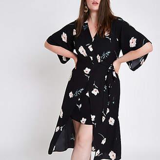 River Island Plus black floral wrap kimono sleeve dress