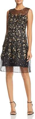 Elie Tahari Hermione Floral-Embellished Illusion Dress