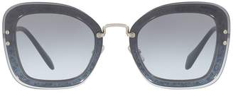 Miu Miu Irregular Glitter Frame Sunglasses