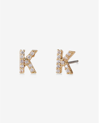 Express Pave K Initial Stud Earrings $14.90 thestylecure.com