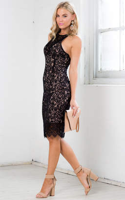 Showpo Keep Cover Dress in Black Lace