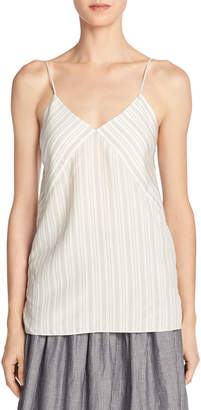 Vince Monotone Striped Silk V-Neck Camisole, Off-White/Black