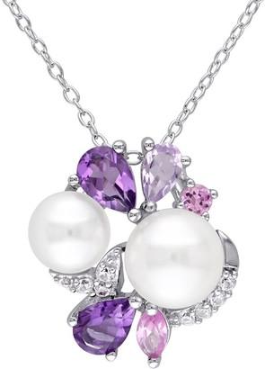 Sterling Multi-Gemstone & Cultured Pearl Cluster Pendant