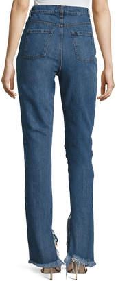 Magda Butrym Summersville High-Waist Flare-Cuff Jeans with Frayed Trim, Blue