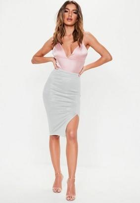 Missguided Thigh Split Faux Suede Midi Skirt Grey, Grey