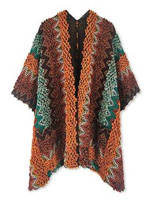 Beautiful Nomad Knit Poncho Pullover Shawl Wrap Sweater for Women