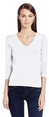 Three Dots Women's Essential Deep V-Neck 3/4 Sleeve Tee