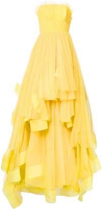 Isabel Sanchis strapless pleated ballgown