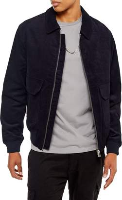 Topman Harrington Slim Fit Zip-Up Corduroy Jacket