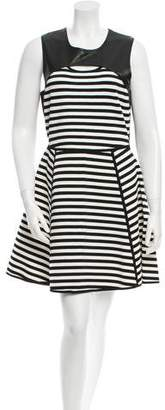 Yigal Azrouel Cut25 by Leather Panel Striped Dress w/ Tags