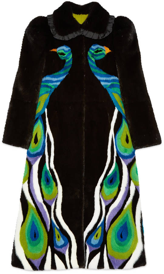 Peacock intarsia mink fur coat