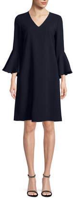 Lafayette 148 New York Holly Ruffle-Cuff Crepe Shift Dress