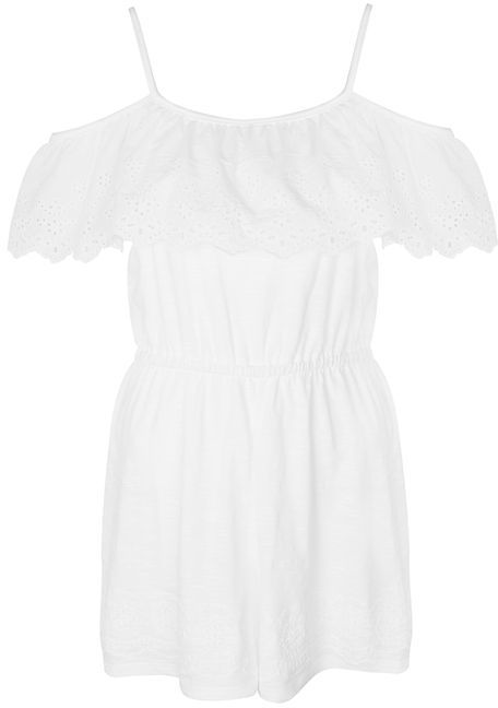 Topshop Topshop Cutwork frill jersey playsuit