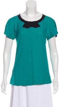 Marc by Marc Jacobs Short Sleeve Round Collar Blouse turquoise Short Sleeve Round Collar Blouse