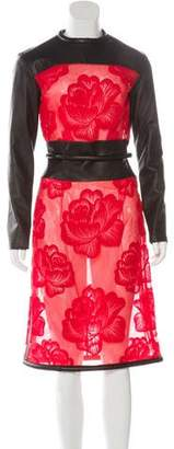 Christopher Kane Leather-Trimmed Brocade Dress w/ Tags