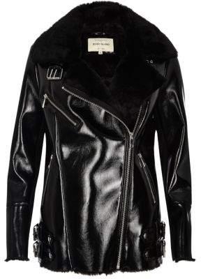 River IslandRiver Island Womens Black patent leather look aviator coat