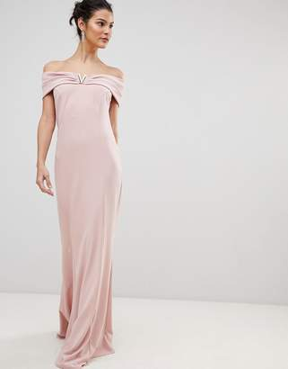Bardot City Goddess Maxi Dress With Metal Detail