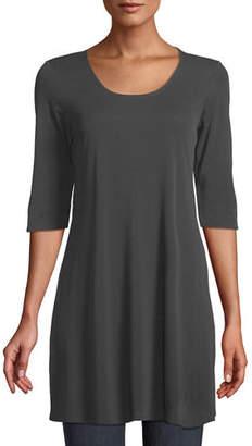 Eileen Fisher Half-Sleeve Silk Jersey Tunic, Petite