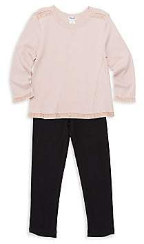 Splendid Little Girl's Two-Piece Mixed Media Sweater and Pants Set