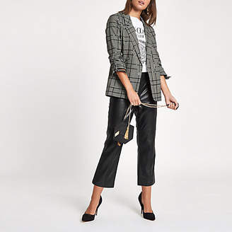 River Island Black sequin check print ruched sleeve blazer