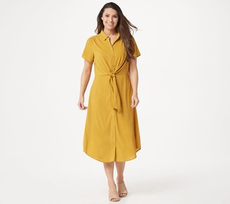 Du Jour Button Front Shirt Midi Dress with Tie Detail