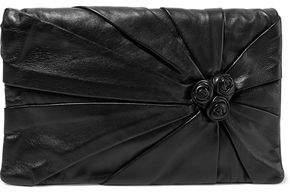 RED Valentino Floral Appliquéd Gathered Leather Shoulder Bag