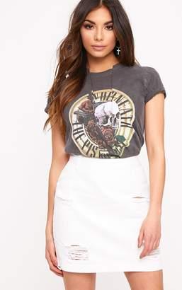 PrettyLittleThing Roschian White Super Distress High Waisted Denim Mini Skirt