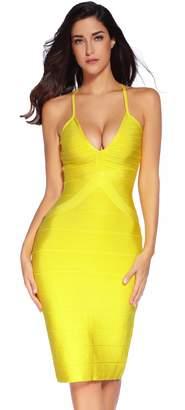 4b3e71e4bf1 Meilun Women Rayon Strap Deep V Bodycon Mermaid Bandage Party Dress